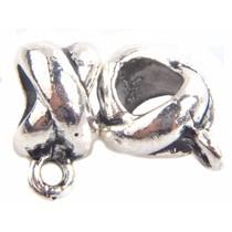 Zilver Kraal met oog kruis Ø5mm Zilver - 4 stuks