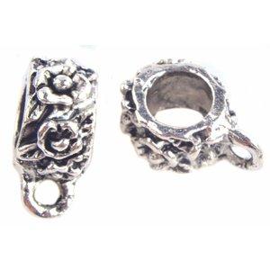 Zilver Kraal met oog bloem Ø4mm Zilver - 8 stuks