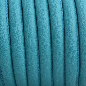 Turquoise Imitatie leer Pacific turquoise green 6x4mm - prijs per 20cm
