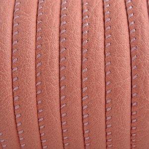 Oranje Imitatie leer Antique coral pink 6x4mm - prijs per 20cm