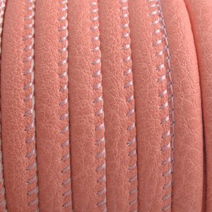 Oranje Imitatie leer Dark coral pink 6x4mm - prijs per 20cm