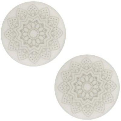 Grijs Cabochon polaris Mandala print matt Silver shade 20mm