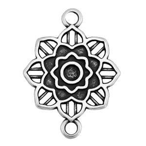 Zilver Tussenzetsel Mandala bloem Zilver DQ 27x20mm