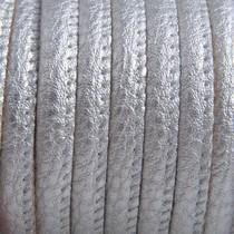 Zilver Imitatie leer Silver metallic 6x4mm - prijs per 20cm