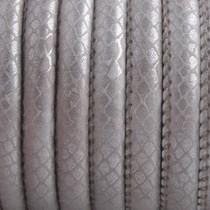 Grijs Imitatie leer Reptile sand grey metallic 6x4mm - prijs per 20cm
