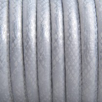 Zilver Limited! Imitatie leer Reptile silver white metallic 6x4mm - prijs per 20cm