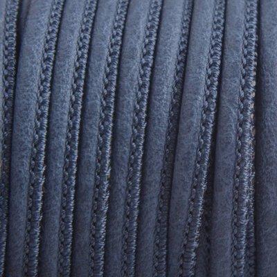 Blauw Imitatie leer Dark blue grey 4x3mm - prijs per 20cm
