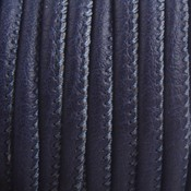Blauw Imitatie leer Dark midnight blue 4x3mm - prijs per 20cm