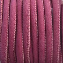 Rood Imitatie leer Aubergine red 4x3mm - prijs per 20cm