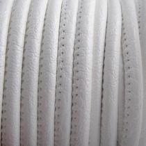 Wit Imitatie leer White 4x3mm - prijs per 20cm