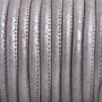 Grijs Imitatie leer Reptile sand grey metallic 4x3mm - prijs per 20cm