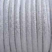 Zilver Imitatie leer Reptile silver white metallic 4x3mm - prijs per 20cm
