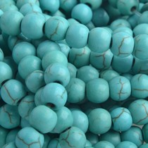 Turquoise Half Edelsteen Imitatie Turquoise rond 4mm - 45 stuks