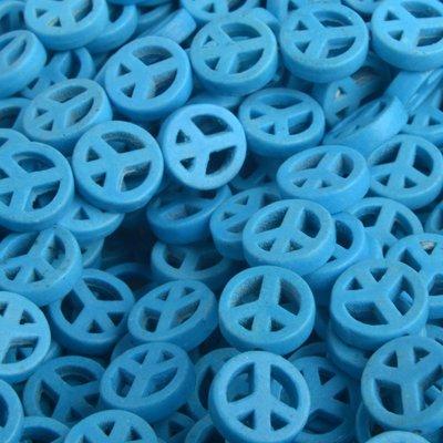 Blauw Keramiek imitatie Turquoise blauw peace 10mm - 5 stuks