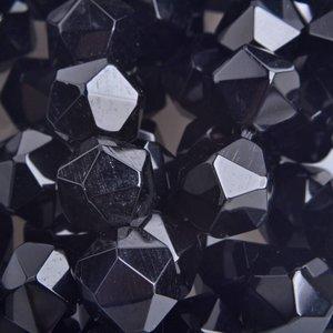 Zwart Half edelsteen Agaat zwart geslepen facet 10mm