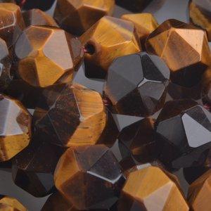 Zwart Half edelsteen Tijgeroog geslepen facet 10mm