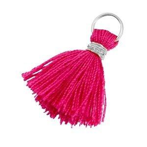Roze Mini kwastje Zilver-berry fuchsia 18mm