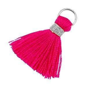 Roze Mini kwastje Zilver-ruby pink 18mm