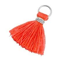 Oranje Mini kwastje Zilver-vermillion coral red orange 18mm