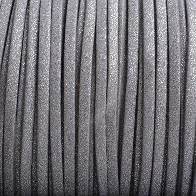 Grijs Imitatie suede zilver grijs 3x1,5mm - 2 meter