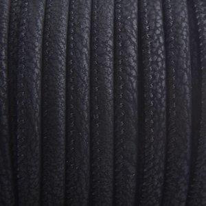Zwart Imitatie leer Matt zwart 4x3mm - prijs per 20cm