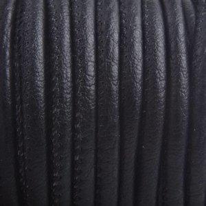 Zwart Imitatie leer Zwart 4x3mm - prijs per 20cm