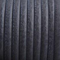 Grijs Imitatie leer Dark graphite grey 4x3mm - prijs per 20cm