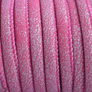 Roze Imitatie leer suéde metallic Fuchsia 6x4mm - prijs per 20cm