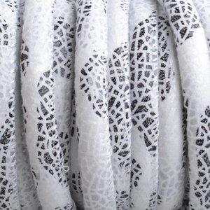 Wit Imitatie leer Wit zwart mosaic 6x4mm - prijs per 20cm