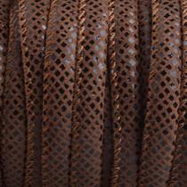 Bruin Imitatie leer Reptiel chocolade bruin 6x4mm - prijs per 20cm
