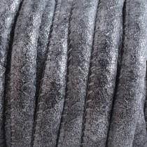 Zilver Imitatie leer Zwart zilver 6x4mm - prijs per 20cm