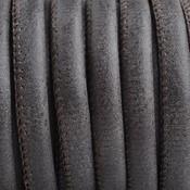 Grijs Imitatie leer Dark brown grey 6x4mm - prijs per 20cm