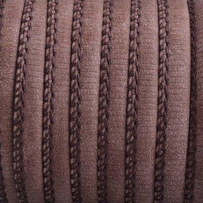 Bruin Imitatie leer Dark walnut brown 6x4mm - prijs per 20cm