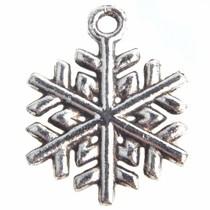 Zilver Bedel sneeuwvlokje Zilver 20x15mm - 5 stuks
