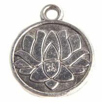 Zilver Bedel munt lotus bloem Zilver 18x15mm - 3 stuks