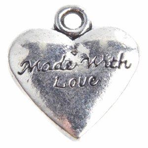 Zilver Bedel hart 'handmade with love' Zilver 19x18mm - 3 stuks
