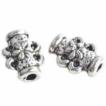 Zilver Kraal buisje met bloem Zilver 8x6mm - 15 stuks