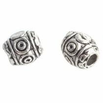 Zilver Kraal cirkels en dots Zilver 6x6mm - 10 stuks