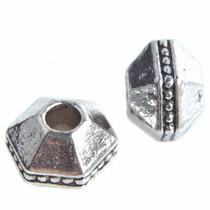 Zilver Kraal 6-hoek met dots Ø3mm Zilver 7x10mm - 3 stuks