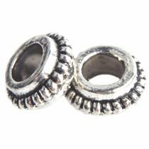 Zilver Kraal ring bali Ø3mm Zilver 7x3mm - 10 stuks
