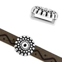 Zilver Leerschuiver cirkel dots Ø6x2mm Zilver DQ 10mm