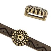 Antiek Goud Brons Leerschuiver cirkel dots Ø6x2mm Brons DQ 10mm