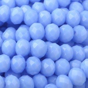Blauw Facet rondel Light blue opaque 4x3mm - 45 stuks