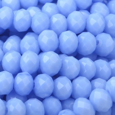 Blauw Facet rondel Light blue opaque 4x3mm - 45 stuks