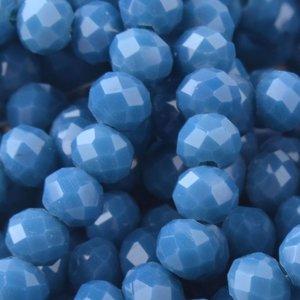 Blauw Facet rondel Steel blue opaque 4x3mm - 45 stuks