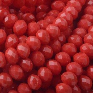 Rood Facet rondel Dark red opaque 4x3mm - 45 stuks