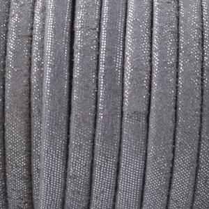 Grijs Plat nappa Leer Grey silver dots 4x1.5mm - prijs per 10cm