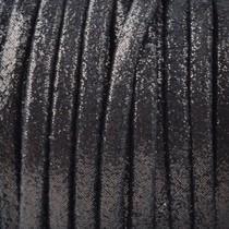 Zwart Plat nappa Leer Black golden dots 3x1.5mm - prijs per 10cm