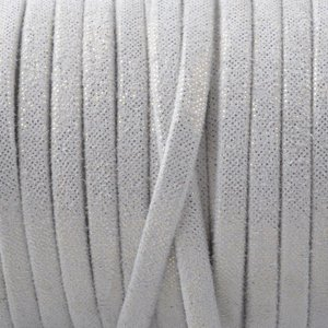 Wit Plat nappa Leer White golden dots 3x1.5mm - prijs per 10cm