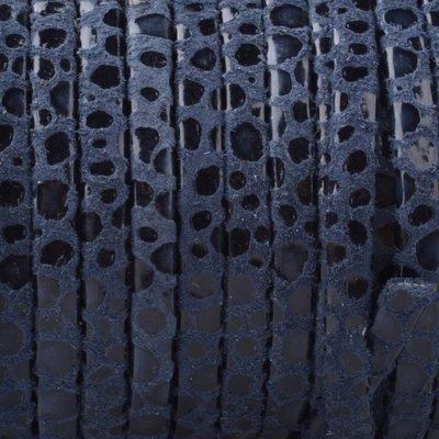 Blauw Plat nappa Leer Dark blue spots 3x1.5mm - prijs per 10cm